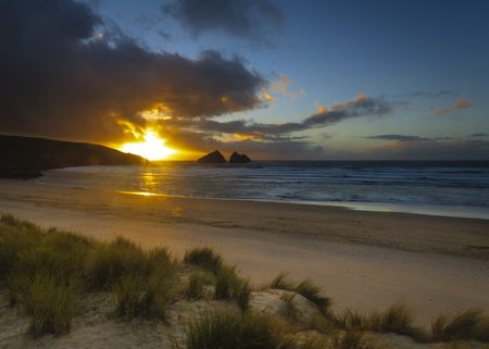 english west country: A dramatic sunset at Holywell bay cornwall