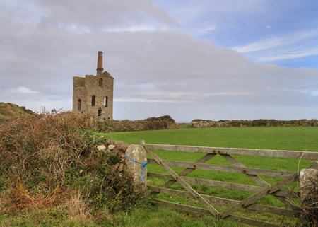 the national trust: Levant Mine and Beam Engine is a National Trust property at Trewellard, near St Just, Cornwall, Stock Photo