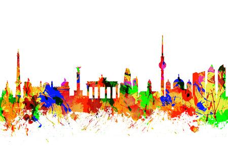 Watercolor art print of the Skyline of  Berlin Brandenburg Gate