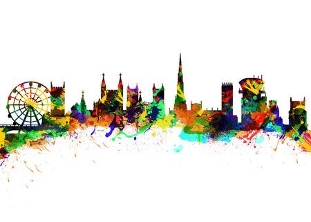 Watercolor art print of the Skyline of  Bristol England