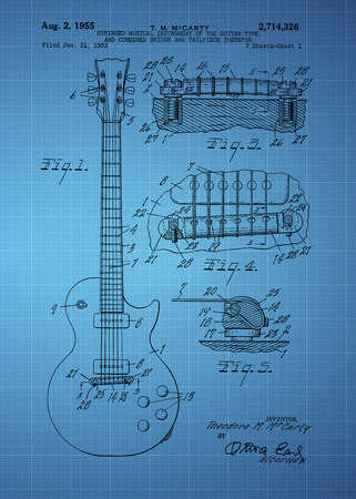 Les Paul  Guitar patent from 1955 inventor T. M. McCarty Vintage patent artwork great presentation in both corporate and personal settings ie offices clubs restaurants Home etc. Photograph - Patent Art - Fine Art Photograph Based On Original Patent Art Editorial