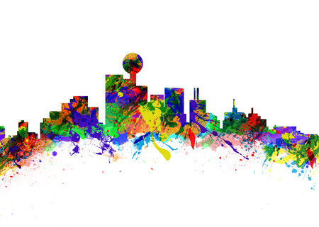 Watercolor art print of the Skyline of Dallas USA