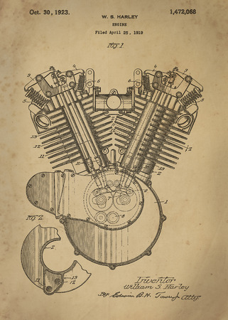 patent: Harley Engine patent from 1919 Vintage patent artwork great presentation in both corporate and personal settings ie offices clubs restaurants Home etc. Photograph - Patent Art - Fine Art Photograph Based On Original Patent Artwork Researched And Enhanc
