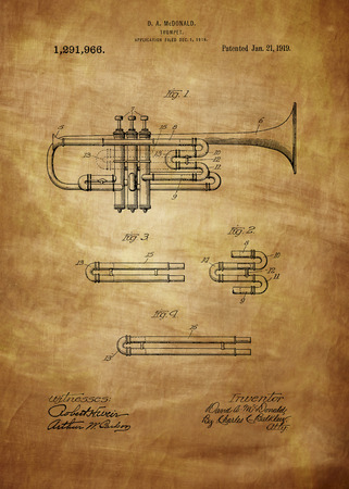 Trumpet patent from 1919Vintage patent artwork great presentation in both corporate and personal settings ie offices/ clubs/restaurants/ Home etc.Photograph - Patent Art - Fine Art Photograph Based On Original Patent Artwork Researched And Enhanced Fro Editorial