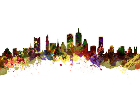 Watercolor art print of the Skyline of  Boston USA Stock Photo
