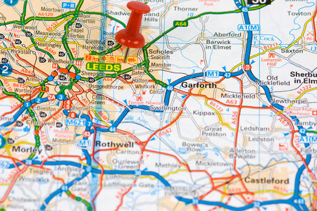 Street Map of Leeds with red pin