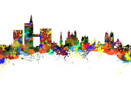 Watercolor art print of the Skyline of  Brussels  Belgium  Europe photo