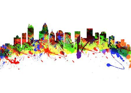 charlotte: Watercolor art print of the Skyline of Charlotte North Carolina USA