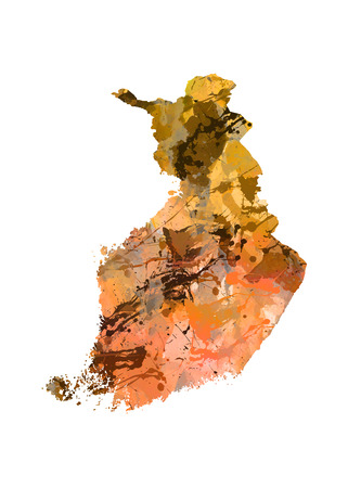 smith: Watercolor Map of  Finland Stock Photo
