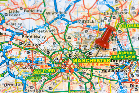 Street Map of Mamchester with red pin photo