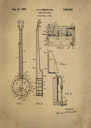 Long Neck Banjo patent from 1964 Vintage patent artwork great presentation in both corporate and personal settings ie offices clubs restaurants Home etc. Photograph - Patent Art - Fine Art Photograph Based On Original Patent Artwork Researched And Enha Editorial