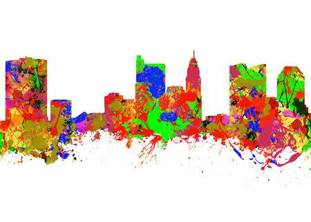 Watercolor art print of the Skyline of Columbus City Ohio photo