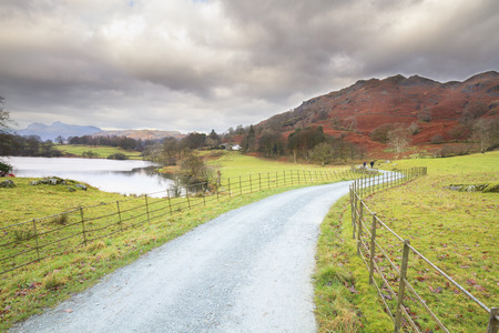 lake district: country lane in the lake district