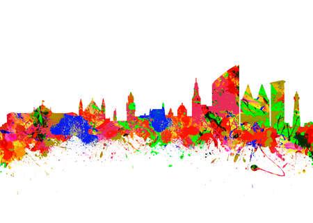 den: Watercolor art print of the Skyline of Den Haag Netherlands Stock Photo