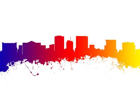 el: Watercolor art print of the Skyline of El Paso Texas