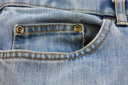 blue denim: Blue Denim jeans pocket close-up