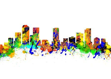 colorado skyline: Watercolor art print of the Skyline of Denver Colorado USA