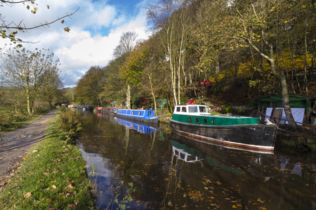 barge: Barge on the canal in autumn England UK