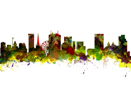Watercolor art print of the Skyline of  Birmingham UK Stock Photo