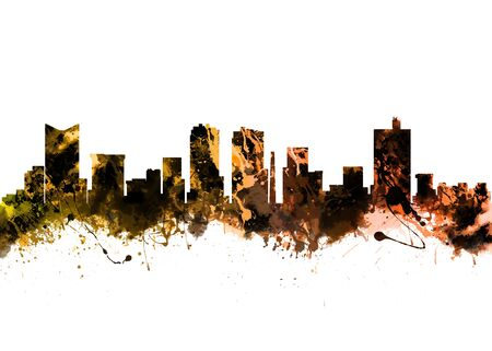 fort worth: Watercolor art print of the Skyline of Fort Worth Texas USA