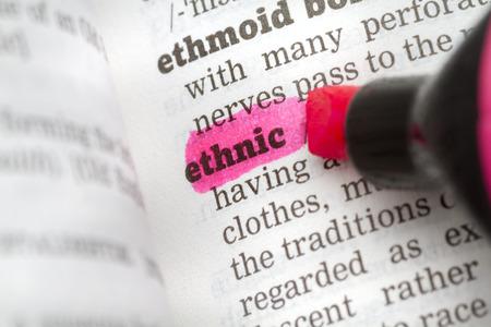 definicion: Definición del diccionario de la palabra étnico Foto de archivo