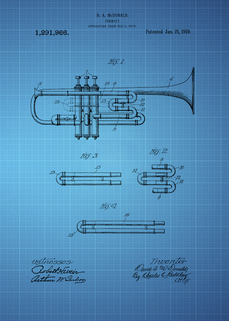 fro: Trumpet patent from 1919 Vintage patent artwork great presentation in both corporate and personal settings ie offices clubs restaurants Home etc. Photograph - Patent Art - Fine Art Photograph Based On Original Patent Artwork Researched And Enhanced Fro
