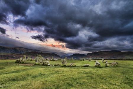 steencirkel: Castlerigg Stone Circle is gelegen in de buurt van Keswick in het Lake District UK