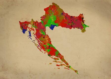 halifax: Watercolor Map of  Croatia Stock Photo