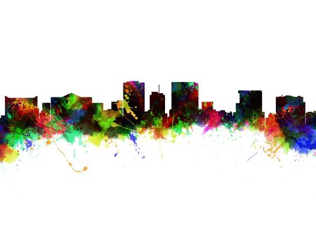 Watercolor art print of the Skyline of El Paso Texas photo