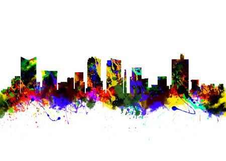 Aquarell-Kunstdruck auf die Skyline von Fort Worth Texas USA