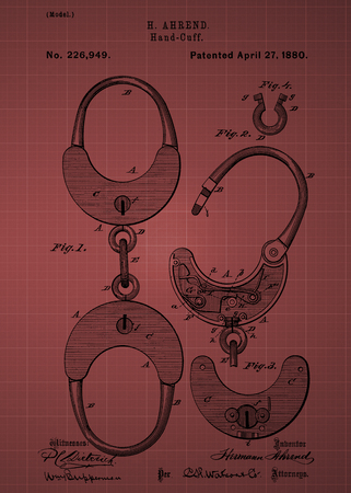 hand cuff: Hand cuff Patent 1880 Vintage patent artwork great presentation in both corporate and personal settings ie offices clubs restaurants Home etc. Photograph - Patent Art - Fine Art Photograph Based On Original Patent Artwork Researched And Enhanced From U Editorial