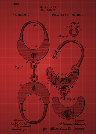 Hand cuff Patent 1880 Vintage patent artwork great presentation in both corporate and personal settings ie offices clubs restaurants Home etc. Photograph - Patent Art - Fine Art Photograph Based On Original Patent Artwork Researched And Enhanced From U