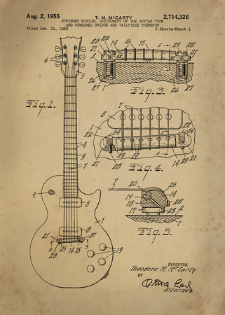 patent: Les Paul  Guitar patent from 1955 inventor T. M. McCarty Vintage patent artwork great presentation in both corporate and personal settings ie offices clubs restaurants Home etc. Photograph - Patent Art - Fine Art Photograph Based On Original Patent Art Editorial