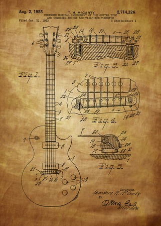 ie: Les Paul  Guitar patent from 1955 inventor T. M. McCarty Vintage patent artwork great presentation in both corporate and personal settings ie offices clubs restaurants Home etc. Photograph - Patent Art - Fine Art Photograph Based On Original Patent Art Editorial