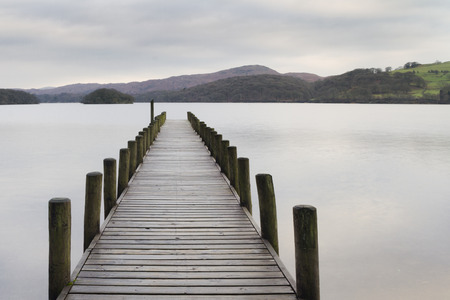 Scenic Wooden jetty on a lake in the lake district photo