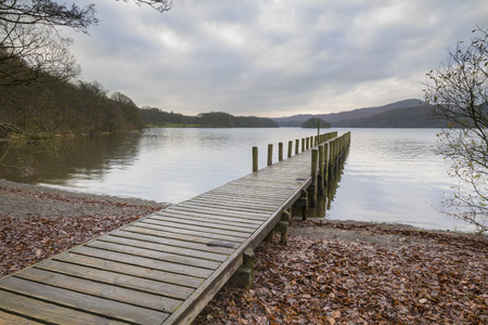 cumbria: coniston water Wooden jetty  in the lake district cumbria