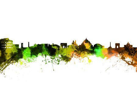 Acquerello stampa d'arte della Skyline di Roma Italia