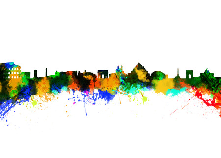 Watercolor art print of the Skyline of Rome Italy