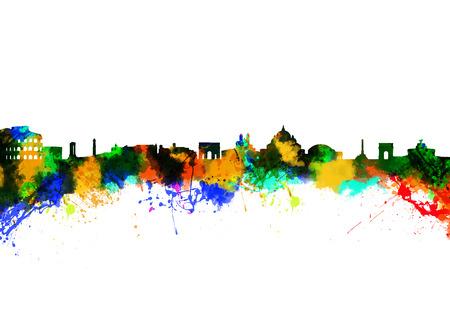 Aquarell-Kunstdruck auf die Skyline von Rom Italien Standard-Bild
