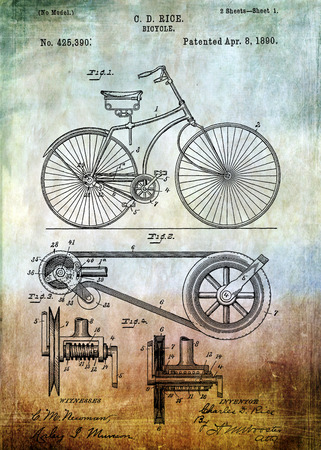 enhanced: Bicycle patent from 1890 Patent Art - Fine Art Photograph Based On Original Patent Artwork Researched  And Enhanced From Us Patent Office