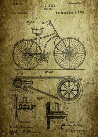 Bicycle patent uit 1890 Patent Kunst - Fine Art Photograph op originele Patent Kunstwerk onderzocht en verbeterd van US Patent Office