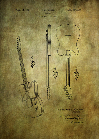 fender: Fender guitar patent from 1951 Patent Art - Fine Art Photograph Based On Original Patent Artwork Researched  And Enhanced From Us Patent Office