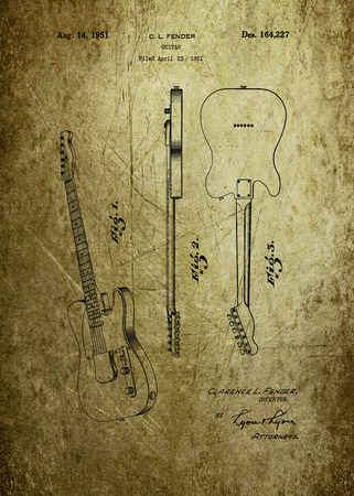 Fender guitar patent from 1951 Patent Art - Fine Art Photograph Based On Original Patent Artwork Researched  And Enhanced From Us Patent Office