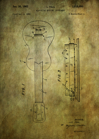 enhanced: patent Les Paul electric guitar from 1959 Patent Art - Fine Art Photograph Based On Original Patent Artwork Researched  And Enhanced From Us Patent Office