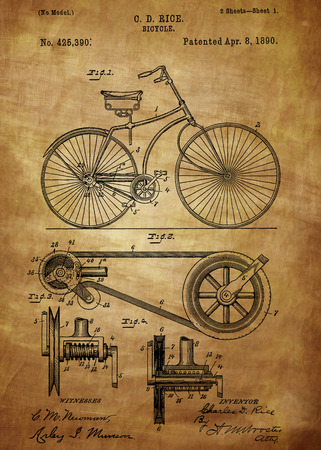Bicycle patent from 1890 Patent Art - Fine Art Photograph Based On Original Patent Artwork Researched And Enhanced From Us Patent Office Editoriali