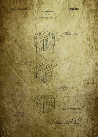 Dice patent from 1923 Photograph - Patent Art - Fine Art Photograph Based On Original Patent Artwork Researched  And Enhanced From Us Patent Office