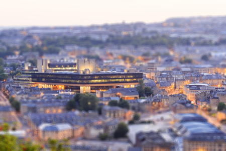 lloyds: Halifax, England - august 12th, 2015: Halifax town centre at dusk with the lloyds bank halifax 12th august, 2015 in Halifax in west Yorkshire, England