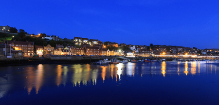 whitby: long exposure at night of whitby North Yorkshire, UK