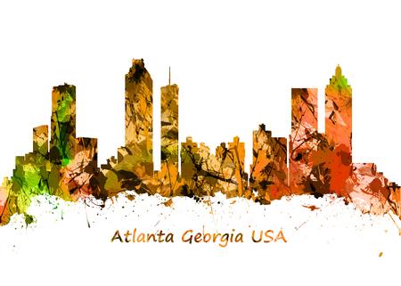 atlanta: Watercolor art print of the skyline of Atlanta Georgia USA