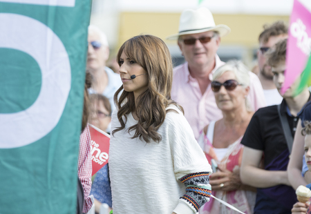 rehearsal: Harrogate, England - July 15th, 2015:  Alex Jones wit Crowds watching at rehearsal for  the One show at The Great Yorkshire Show 15th July, 2015 at Harrogate in North Yorkshire,  England